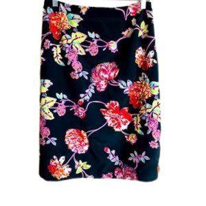 SOFT SURROUNDINGS NWOT Black skirt floral print LG
